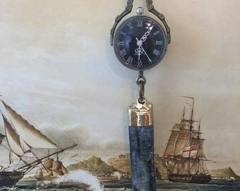 Steampunk Kyanite Pocket Watch Necklace FREE Gift Box Steampunk Boho Watch REALLY WORKS Clock Jewelry Cosplay Gypsy Boho Style Jewellery