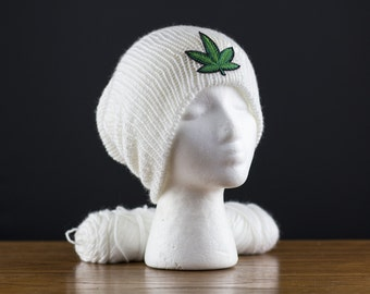 Marijuana Patch Beanie. Choose your beanie color! Double layer knit slouchy beanies -Women Men Teens - super soft yarn - 48 colors available