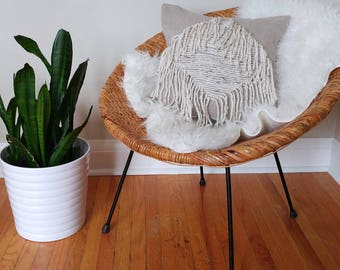 Fringe pillow cover - dark natural beige linen - natural tweed fringe - diamond design - hand knotted