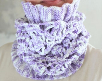 Scarf snood Crochet snood Scarf infinity Cowl Crochet scarf knit scarf White snood violet crochet cowl Gift for teen girl Gift for daughter
