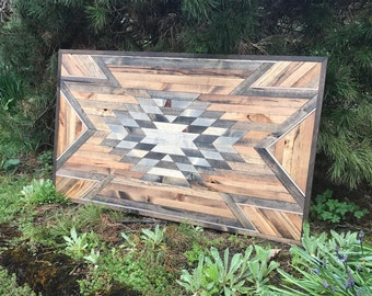 Rustic Tribal Aztec Wood Wall Art