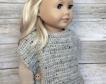 DIY Crochet Pattern – 18 inch Doll Pullover Button Wrap PDF 28 (Fits American Girl Dolls) – Digital Download