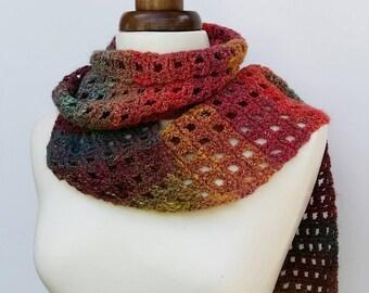 Crochet winter scarf, silk and wool scarf, multi-colour scarf, noro crochet scarf, autumn winter scarf, men's scarf, women's scarf