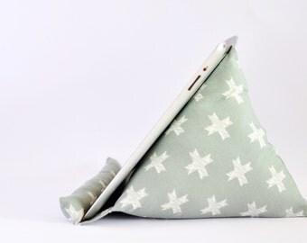 iPad Stand, iPad Holder, iPad Pillow, iPad Cushion, Tablet Stand, Tablet Holder, Tablet Pillow, Tablet Cushion - Silver & White Crosses