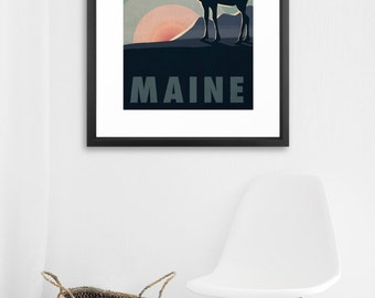 Vintage Style Moose Poster - MAINE