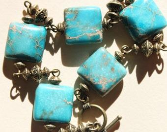 Turquoise Bracelet Beaded Bracelet Turquoise Boho Bracelet Boho Jewelry Bohemian Bracelet Brass Stone Bracelet Gift for women Gift for her