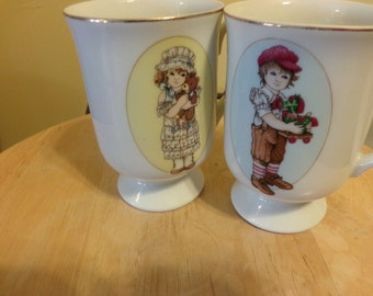 Applause Wallace Berrie and Co Inc, 1984 coffee cups, coffee cup set, 1980's prop, Rare Wallace Berrie mugs