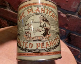 Planters Peanuts Tin Can, Vintage 1981 Limited Edition 75th Anniversary Planters Salted Peanuts Tin , 1980's prop, Rustic decor