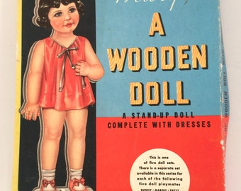 Vintage paper dolls: Margie A Wooden Doll boxed  from Whitman  in 1939  uncut NIB