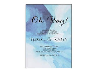 Watercolor Boy Baby Shower Invitation Template