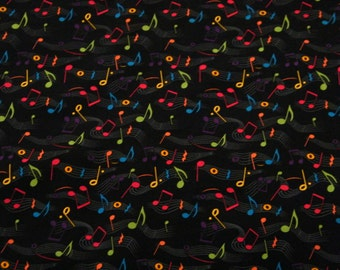 BTY MUSICAL NOTES on Black 100% Cotton Quilt Crafting Fabric by the Yard