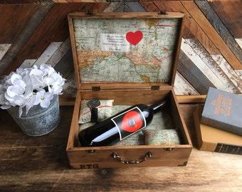 Personalized engagment gift- Wedding gift, Memory box, keepsake box, jewelry box, anniversary gift for wood, letter box, momento box.