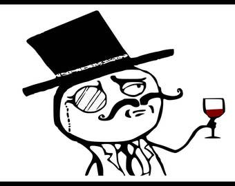 Comedy Sticker Lulzsec Security Hacker Monocle Guy Meme 733t 4chan 7chan Gift