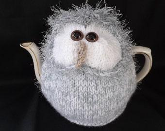 BARN OWL Tea Cosy, Brown or Grey. Mothers Day Gift, Bird Lovers Gift, Hand Knitted, Medium 6-8 Cup Teapot. Owl Lovers Gift, Other Sizes Too