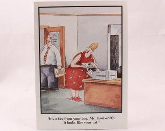 Vintage 1990 Gary Larson Far Side Greeting Card and Envelope. Office Fax