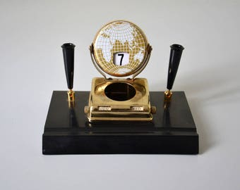 Vintage perpetual calendar / flip calendar with pencil holder and inkwell