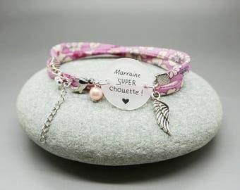 """bracelet liberty cabochon """"Marraine super chouette"""" ange coeur personnalisable"""