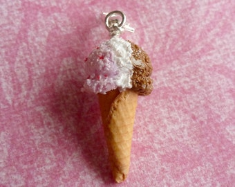 Ice Cream Food Jewelry Charms Neapolitan Ice Cream Miniature Food Jewelry Gifts for Her Polymer Clay Ice Cream Cone Charm