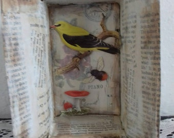 Mixed media nature shadow box. shelf art, ooak, nature, bird, insect.
