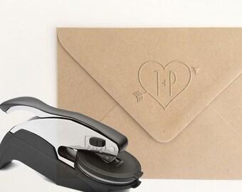 Heart Embosser Stamp, Custom Monogram Embossing Stamp, Bow and Arrow Embossing Seal, Heart Monogram Embossing Seal, Heart Emboss (EMONO121)