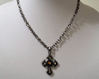 Pewter cross with blue focal bead