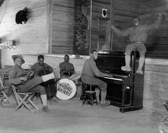 Army Jazz Band, 1918. Vintage Photo Reproduction Print. 8x10 Black & White Photograph. Music, Musicians, WWI, 1910s, Boot Camp, Historical.