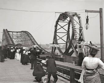 Atlantic City Rollercoaster, 1901. Vintage Photo Reproduction Print. 8x10 Black & White Photograph. Summer, Boardwalk, Vacation, 1900s.