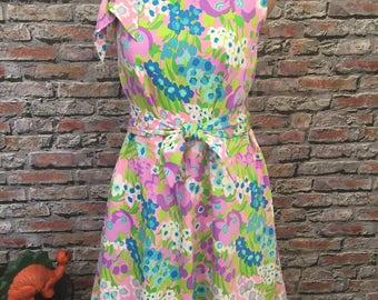Vintage 1970's ADELAAR Dress    Easter/Spring Dress A Line Floral  Size 8