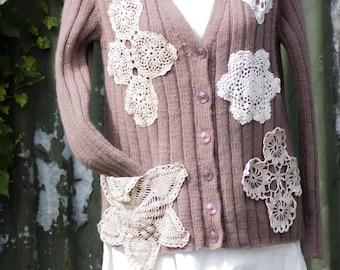 Vintage shabby chic wool cardigan
