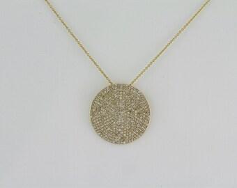 1.23ct - Round Diamonds 14K Yellow Gold Round Diamonds Medium Disc Pendant - CUSTOM MADE