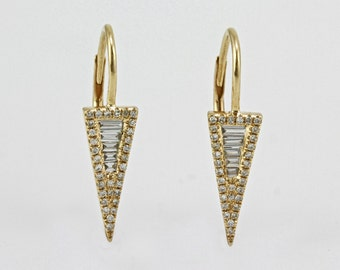 0.33ct Baguette & Round Diamonds in 14K Yellow Gold Spike Chevron Dangle Earrings - CUSTOM MADE
