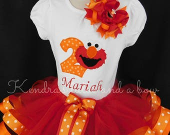 Elmo 1st first,second third Red and orange dot birthday ribbon trim tutu set