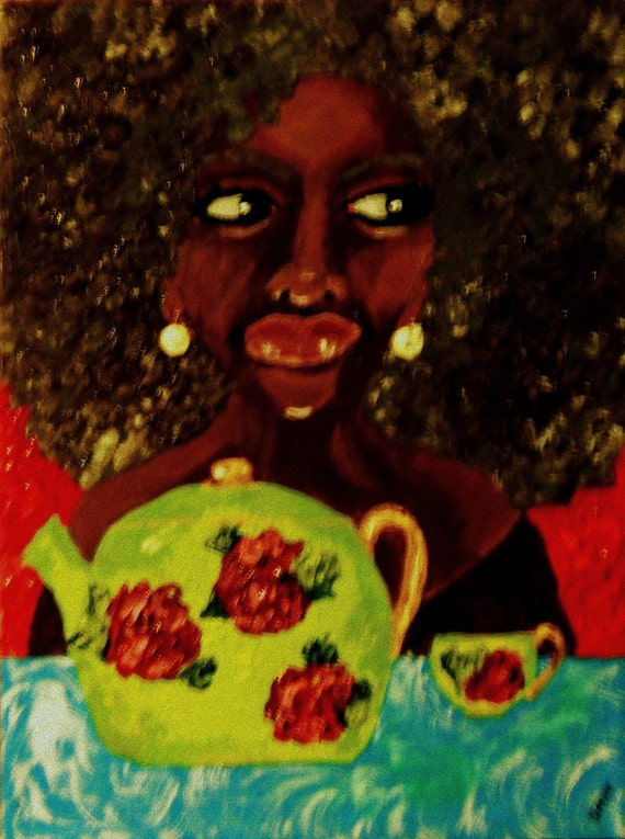 """WHERE'S M' SAUCER?, Acrylic Afrocentric portrait of a woman about to spill the tea -  12 x 16"""" Canvas, by Outsider Folk Artist Stacey Torres"""