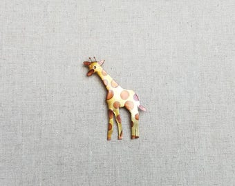 Flame painted copper Giraffe, pin