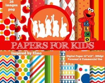 Digital Papers, Elmo, Sesame Street, Boys, Birthday, Background, Clipart, Papers for kids