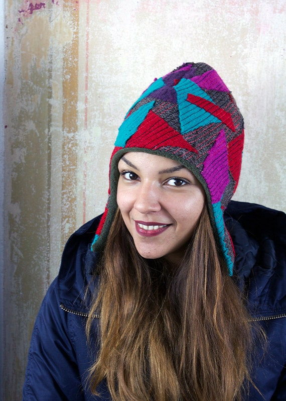 upcycling fulled loden beanie pink twenties
