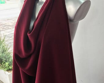 Dark red, wine Bordeaux stretch crepe fabric,  2 way stretch textured polyester spandex 150cm 60 inches