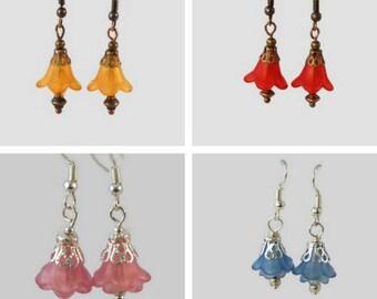 Flower earrings, lucite flower earrings, lucite earrings, lucite flowers, vintage style earrings, bohemian earrings, 4 colour options.