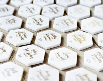 gold calligraphy marble place cards // custom handwriting font in gold and silver pen for handwritten wedding escort cards