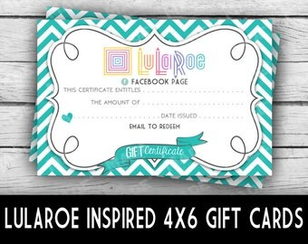 Printed LuLaRoe GIFT CERTIFICATES-CHEVRON, Business Stationery, Marketing Tools, Printed Stationery, Direct Sales Inspired, Gift Cards