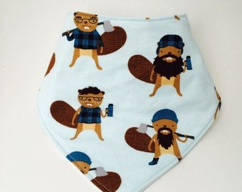 Burly Beavers Baby Bib, Lumberjack Beavers Bandanna Bib, Blue Bibdanna, Drool Bib, Modern Baby Bib, Baby Boy Bib, Baby Shower Gif