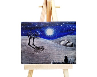 Cat in the Moonlight. Original painting. Mini-canvas 5x7cms and easel.