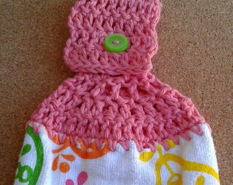 Pink Crochet Top with Sliced Fruit Apple Pear Hanging Dish Kitchen Towel