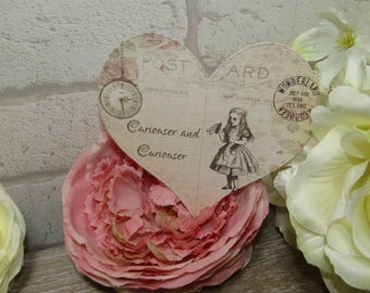8 Alice in Wonderland Quote Heart Table Cards Decoration,Wedding,Party,Table Decor, Gift tags,Crafts,Cardmaking