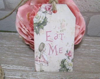 10 Alice in Wonderland Eat Me Floral Gift Tags Toppers,Favors,Wedding.Tea Parties,Baby Shower,Bridal Shower,Birthday,Gifts