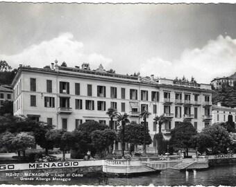 Grande Albergo Menaggio, Menaggio, Lago di Como, Italy, Vintage 1950s Black and White Real Photo Unused Postcard
