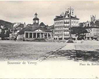 Souvenir de Vevey, Place du Marche,  Switzerland - Circa 1900  Unused Antique Black and White Postcard