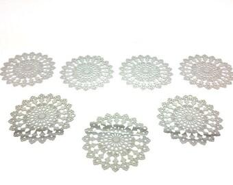 10 prints Fleuries Ajourees 45x44mm platinum silver