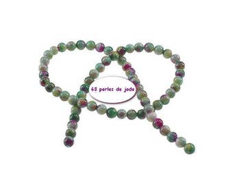 68 Jade 6mm Arc in sky Green Pink pearls