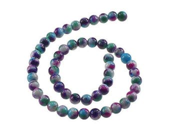 50 8mm Arc in sky blue Violet Green Jade beads